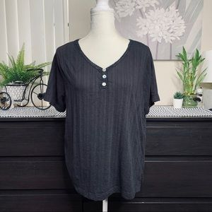 WHITE STAG Black Textured Button Tee Shirt Top 1x
